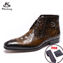 Dress-Shoes Short-Boots Black Man Genuine-Leather Mens Basic Phenkang Ankle Lace-Up Brown