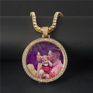 Image 3 - รอบ Photo Custom สร้อยคอและจี้เหรียญทองแดงเทนนิส chain Gold Cubic Zircon Picture สร้อยคอผู้ชายเครื่องประดับ Hip hop ของขวัญ
