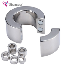 New 5 Size Stainless Steel Penis Ring Ball Stretcher Delay Lasting Metal Cock Ring Scrotum Restraint Testicular Sex Toys for Men