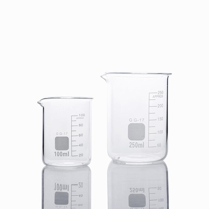 Borosilicate Glass Measuring Low Form Beaker 100ml 250ml Measuring Cup For Baking, Handmade Soap, Chemistry Laboratory