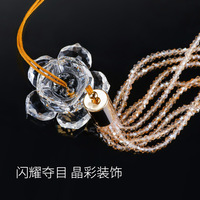 High end Crystal Lotus Fashion Pendant Crystal Figurines Car Hanging Decor Ornament Fengshui Hanging Dangle Charm Car Styling