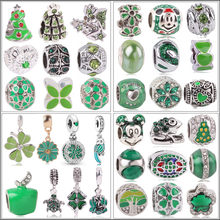 New Hollow Mickey Life Tree Crown Green Bead Fit Original Pandora Charms Bracelet Trinket Jewelry For Women Man Making Jewelry(China)