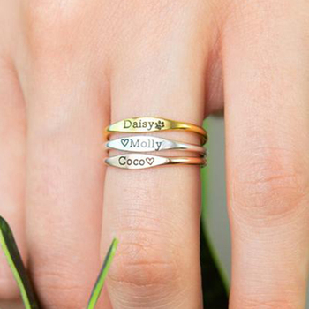 Custom Name Rings Skinny For Women Girls Anillos Mujer Personalized Engraved Ring BFF Stainless Steel Jewelry