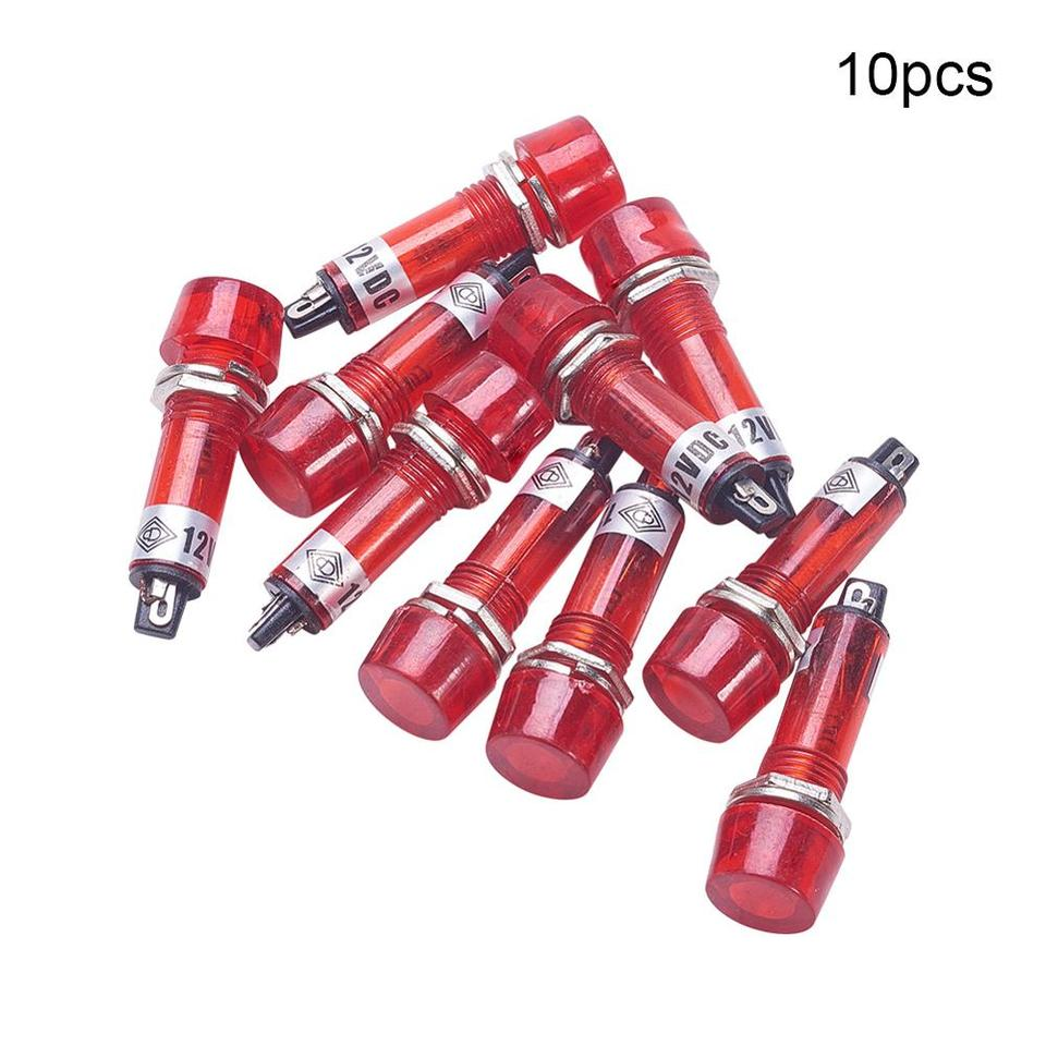 Othmro Neon Indicator XD10-3 Signal Indicator 12V Red Light 10mm//0.39 Mounting Hole Diameter 40mm//1.57 10PCS