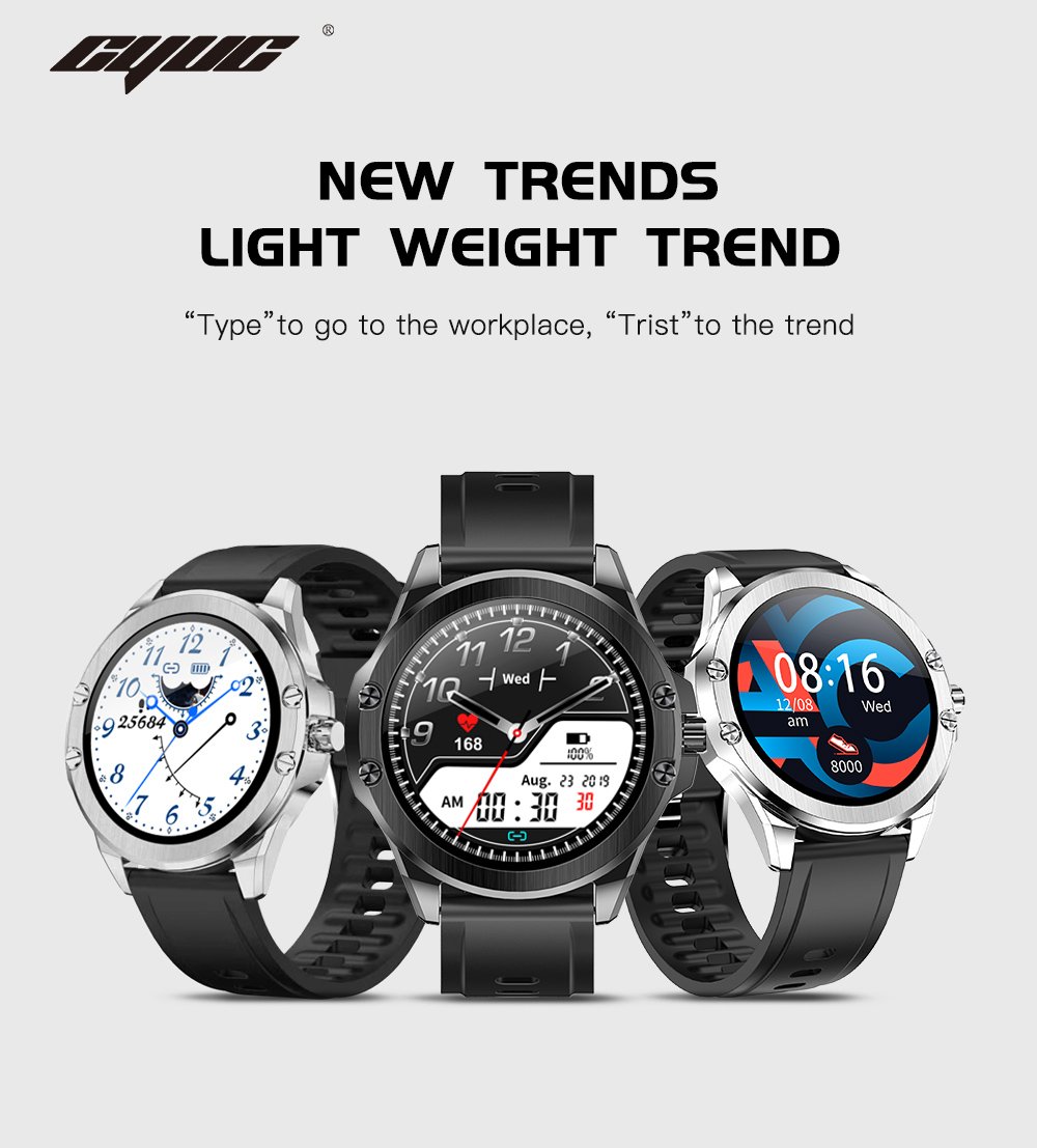 H44409fcc97834bfcb8a86eeb45c88019A CYUC S11 Smart watch men HD Full round Screen IP68 Waterproof