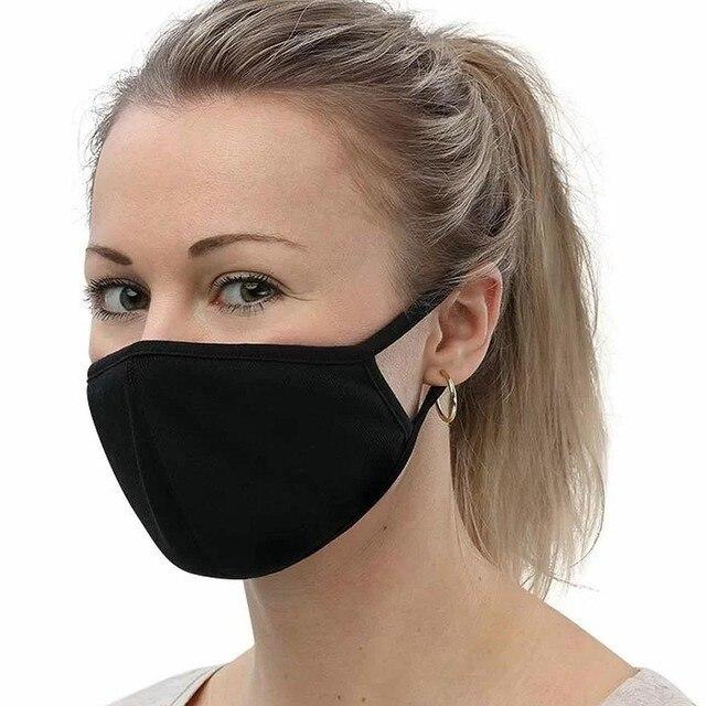 1 pçs algodão preto boca máscara facial lavável algodão boca rosto máscaras capa de boca ace escudo máscara facial pano moda 2