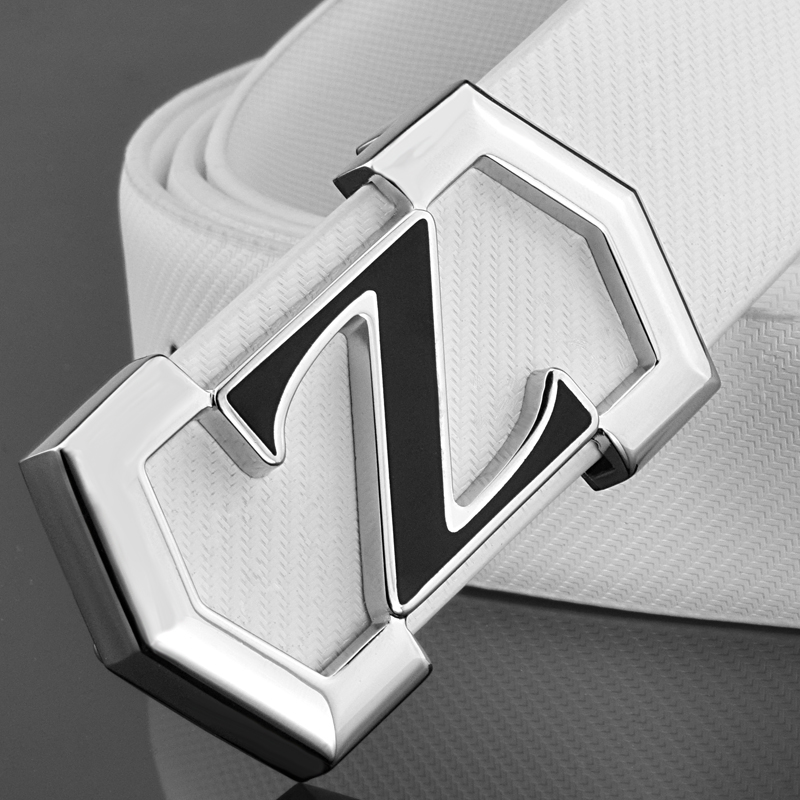 New fashion Z letter genuine leather white belt men solid buckle casual personality smooth buckle student belt High Quality