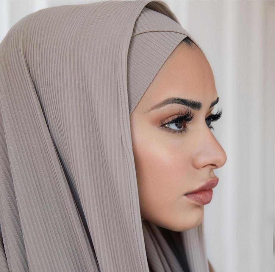 Fashion Pleated Stripe Scarf Women Muslim Jersey Hijabs Shawl Hijeb Femme Africa Headband Long Islam Underscarf Sjaal Bufandas