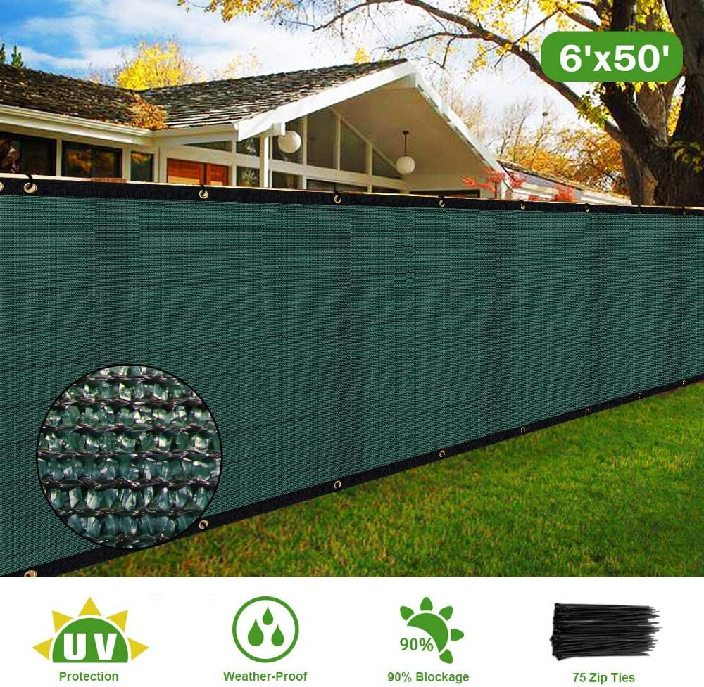 6' X 50' Heavy Duty Privacy Screen Fence, 90% Blockage Green Mesh Shade Net Cover With Brass Grommets-Includes 75 Zip Ties