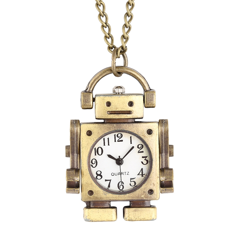 Unique Robot Shape Quartz Pocket Watch Fashion Open Face Square Dial With Arabic Numerals Pendant Necklace Watch For Boys Girls