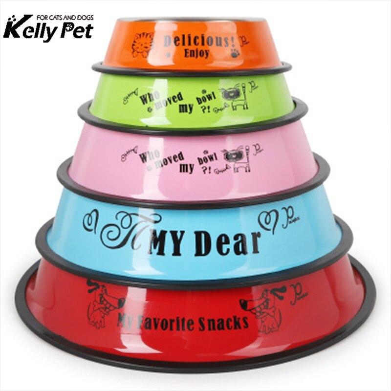 Tigela de Aço inoxidável Anti-skid Gato Cão animais de Estimação Pratos de Comida Tigela de Água Potável Para Animais de Estimação Do gato Do Cão de Alimentação do Alimentador Tigela a ferramenta de alimentação