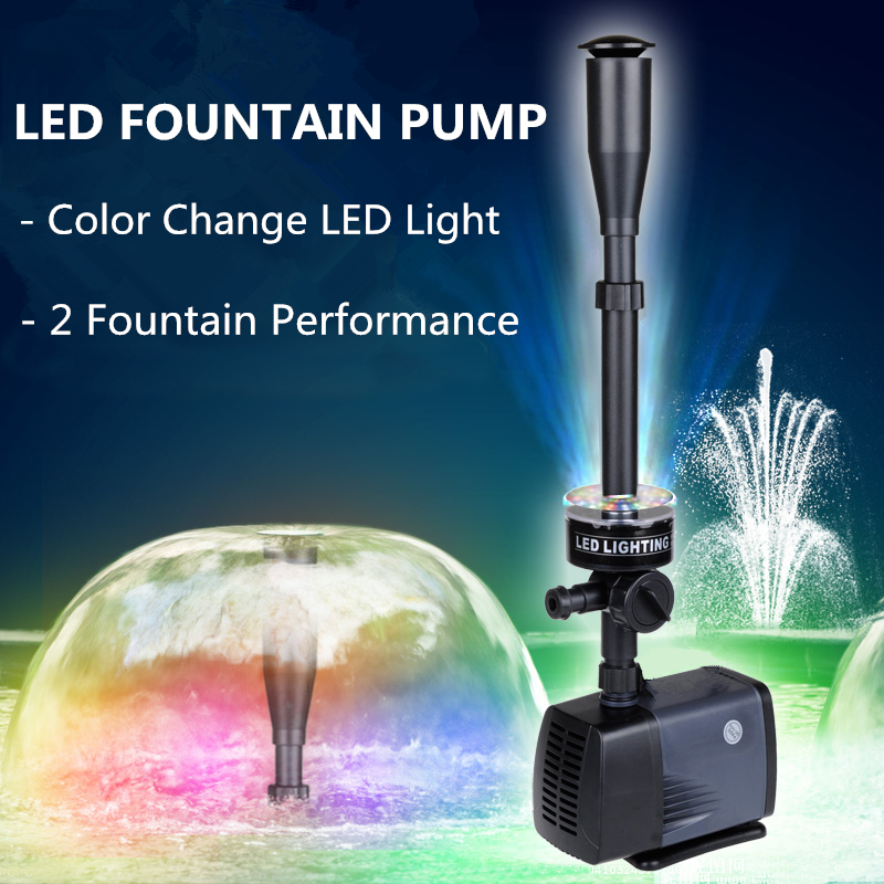LED fontaine pompe 40W 2000L/H poissons étang Aquarium Submersible jardin décoration pompe à eau avec LED à changement de couleur