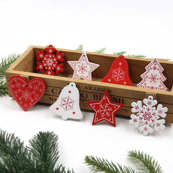 12PCS/Lot DIY White&Red Christmas Tree/Heart/Star Wooden Pendants Ornaments For Home Xmas Tree Ornaments Kids Gifts Decorations led light christmas tree star car wooden pendants ornaments xmas diy wood crafts kids gift for home christmas party decorations