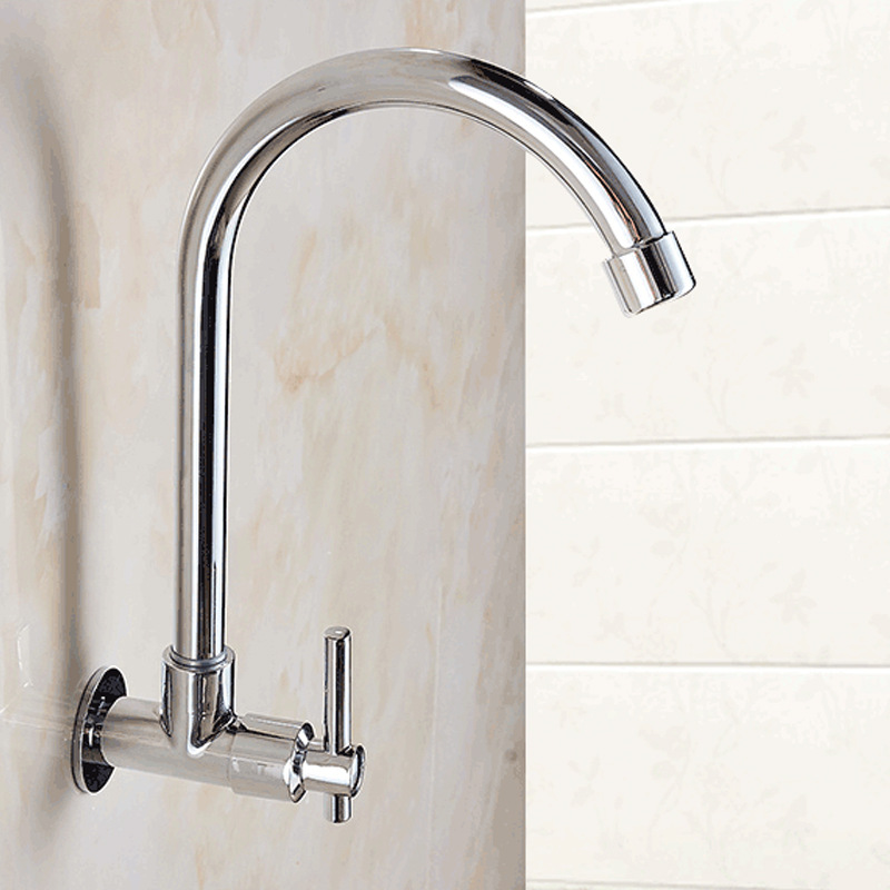 Kitchen Wall-in Washing Basin Faucet Single Cold Copper Sink Kitchen Sink Balcony Mop Pool Wall Water Extractor Rotatable