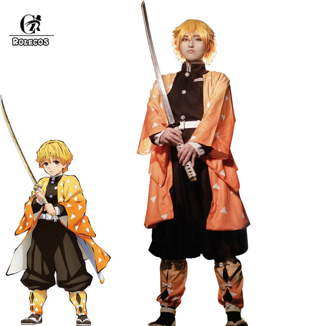 ROLECOS Аниме Костюм Kimetsu no Yaiba Косплей демона Slayer Agatsuma Zenitsu косплей костюм Мужчины кимоно Хэллоуин костюм