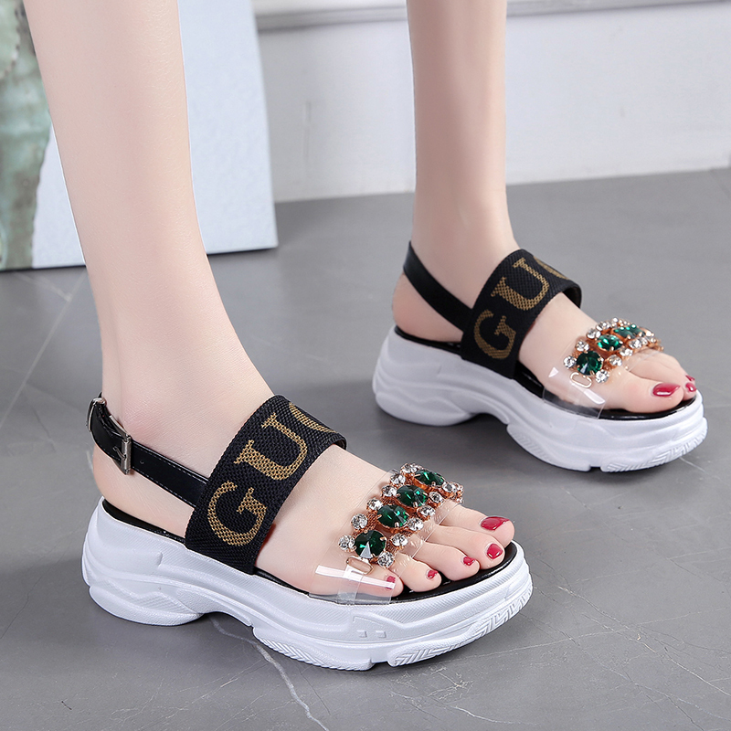 Summer Women Sandals Fashion Rhinestone Design Black White Platform Sandals Crystal Women High Heel Thick Sole Beach Shoes|High Heels| - AliExpress