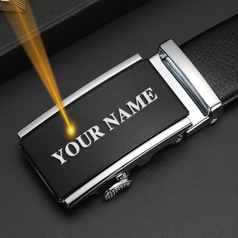 Men Automatic Buckle Belt Custom Engraved Name & Logo Genuine Leather Waist Strap Belts for Jeans Father's Day Personalized Gift