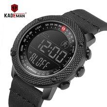 Kademan高級スポーツ腕時計軍軍事ステップカウント防水革ハンド時計トップブランド男性腕時計レロジオ