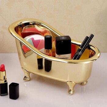 Mini Bathtub Soap Jewelry Storage Box Makeup Organizer Container Desktop Sundry Storage Case Gold Silver Sundries Storage Box