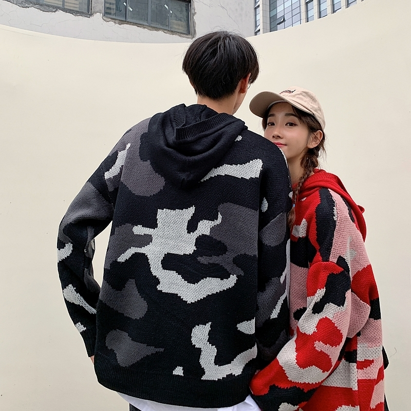 UYUK2019 Winter  Stylel Personality Lazy Harajuku Loose Fashion Trend Hooded Geometric Patchwork Pattern Lovers Sweater Clothes