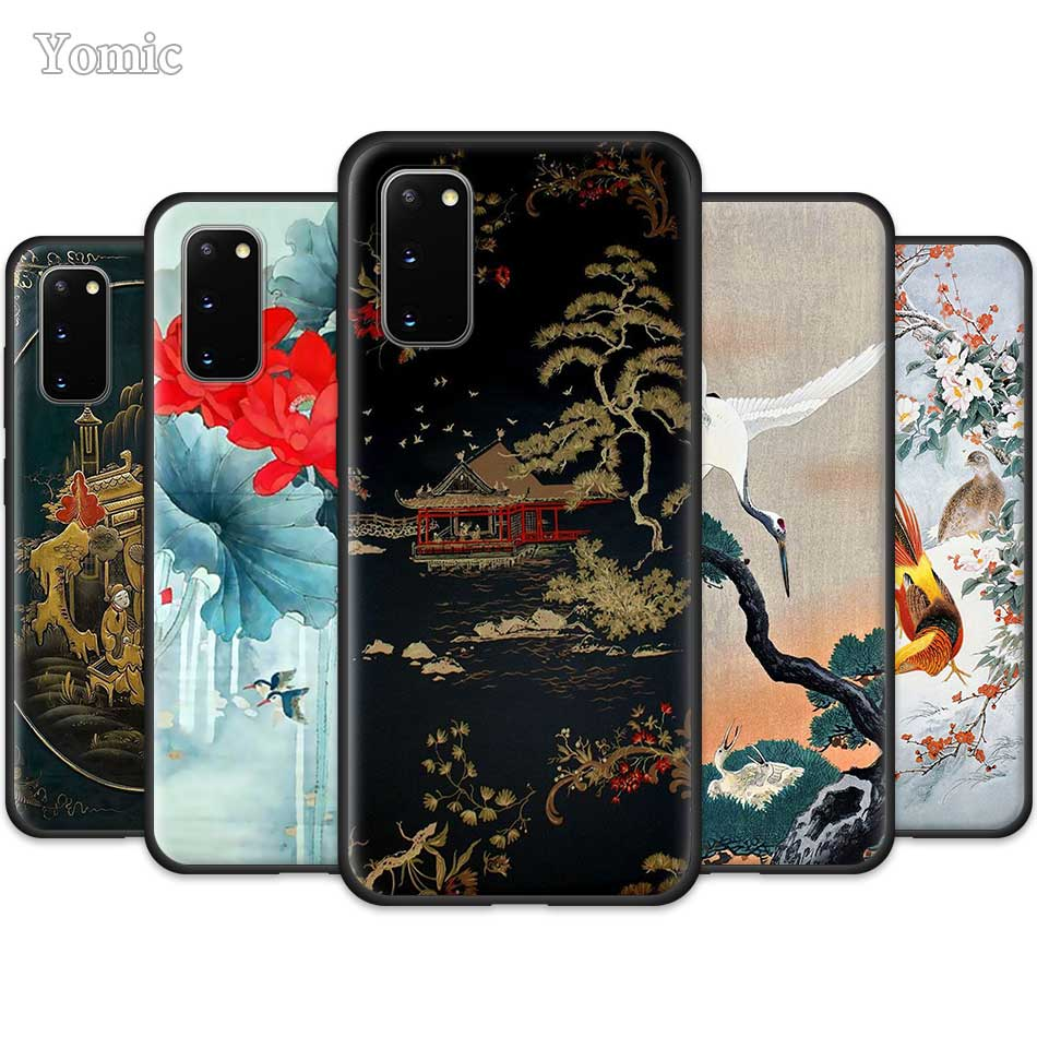 Chinese Watercolor Fashion <font><b>Case</b></font> for <font><b>Samsung</b></font> Galaxy S20 Ultra 5G S10 Lite <font><b>S10e</b></font> S9 S8 Note 8 9 10 Plus Black Soft Phone Cover Sac image