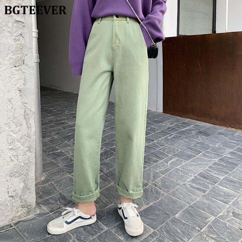 BGTEEVER Spring Vintage Women Denim Jeans Streetwear High Waist Straight Jeans Female Loose Denim Pants Capris Femme 2020