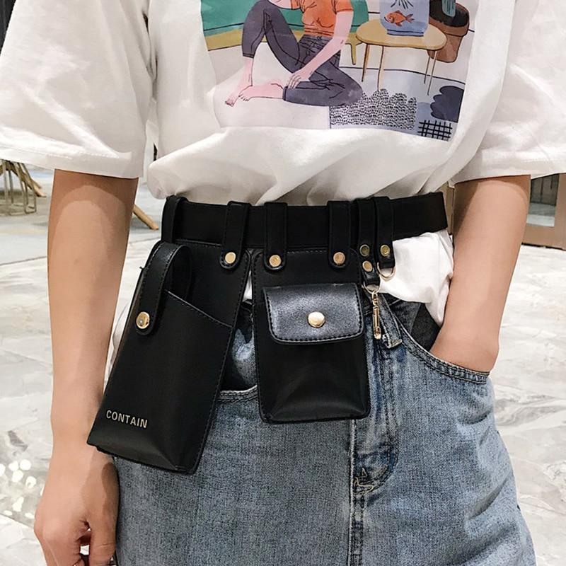 Women Pauch Brand Fanny Pack Fashion Leather Belt Bag Kidney High Capacity Waterproof Multi-pocket Waist Pack Hip Banana Bags