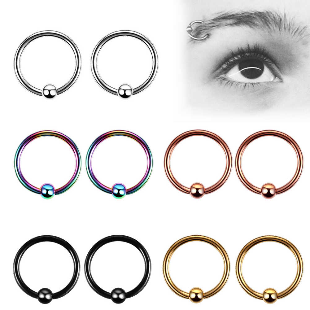 1pc Hinge Segment Nose Ring Septum Ball Ear Helix Ring Hoop
