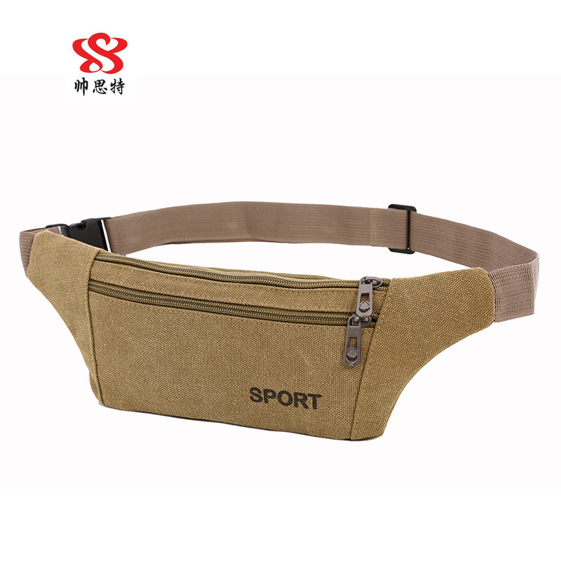 Customizable Hot Selling Korean-style Canvas Sports Outdoor Waist Pack Women's Mobile Phone Bag Riding Over-the-shoulder Bag Che