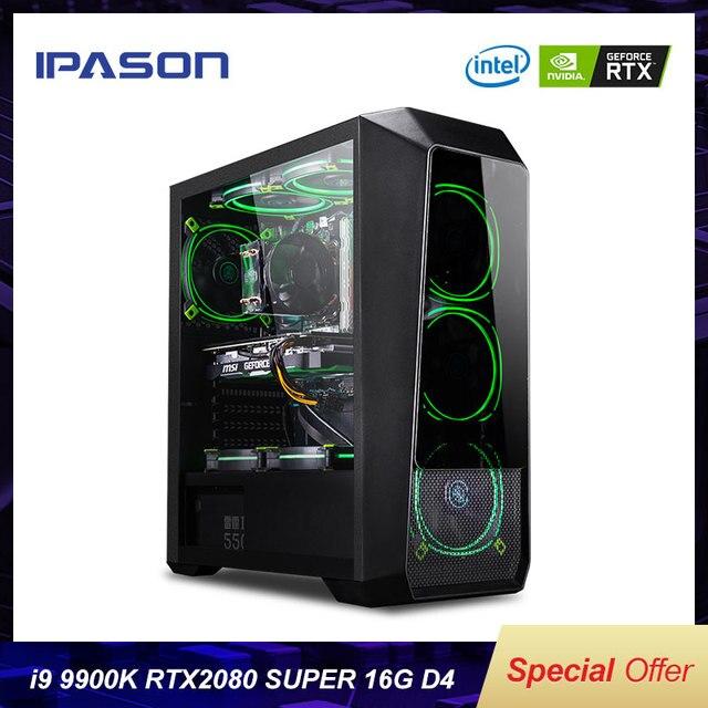 IPASON мощный игровой компьютер Intel 9th Gen Core I9 9900K RTX2080 Super 8G видеокарта высокопроизводительный игровой Настольный ПК