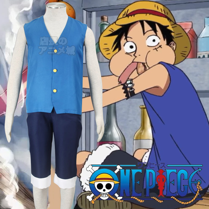 Hot Sell Anime ONE PIECE Monkey D Luffy Cosplay Costumes Classic Style Bule Sleeveless T-Shirt +Shorts Unisex Role Play Clothing