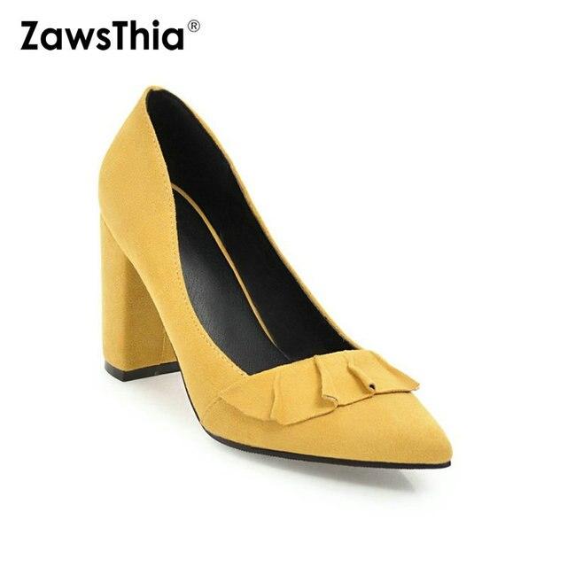 Zawsthia 夏秋春の女性靴ブロックハイヒールクラシックオフィスポンプ黄色ミントグリーン女性ハイヒール作業靴