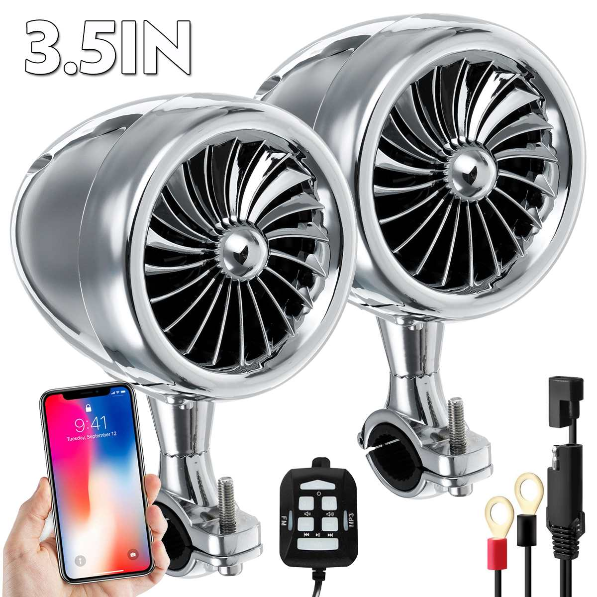 300W Waterproof Bluetooth Motorcycle Stereo Speakers MP3 Amplifier System Motorcycle Speakers Car Audio