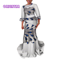 Women African Dresses Elegant White Lace Wedding Party Long Dress African Print Cotton Lady Bride Evening Ball Gown WY4210