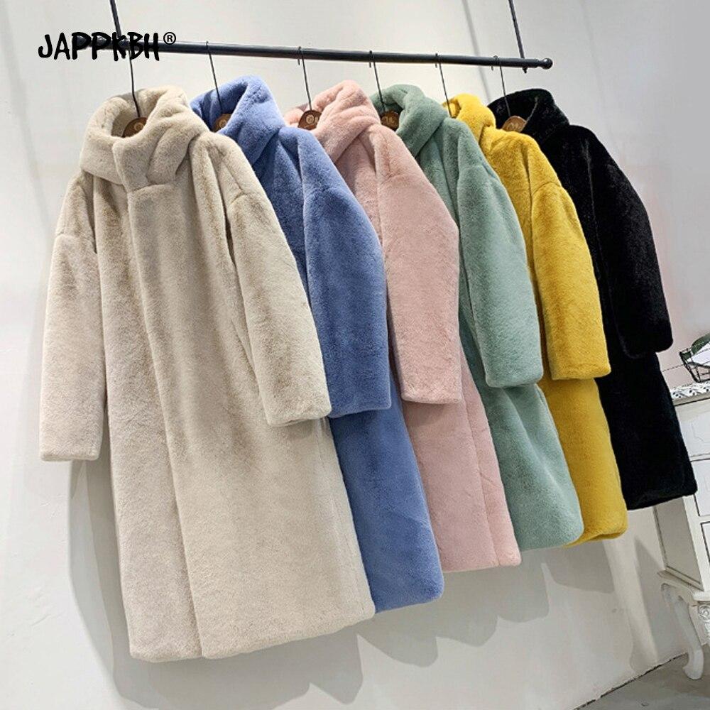 Autumn Winter Faux Fur Coat Women 2019 Thick Warm Long Oversize Hoddies Jacket Female Luxury Casual Loose Cotton Lining Outwear