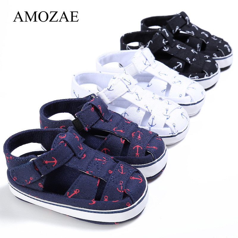 2020 New Infant Toddler Print Anchor Baby Shoes Baby Boy Girl First Wanlker Soft Sole Shoes Prewalker 0-18 Months Baby Shoes