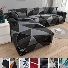 Square lattice printed couch cover sofa cover elastic slipcovers for pets chaselong protector L shape anti-dust machine washable