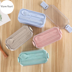 Pink Blue Green Beige Lunch Box Rectangle 2 layer Eco-friendly Plastic Microwavable Dinnerware Set Bento Box Food container