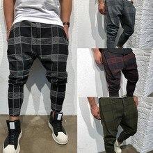 Calças de carga dos homens jogger casual fitness xadrez perna reta lápis jogger carga harem calças