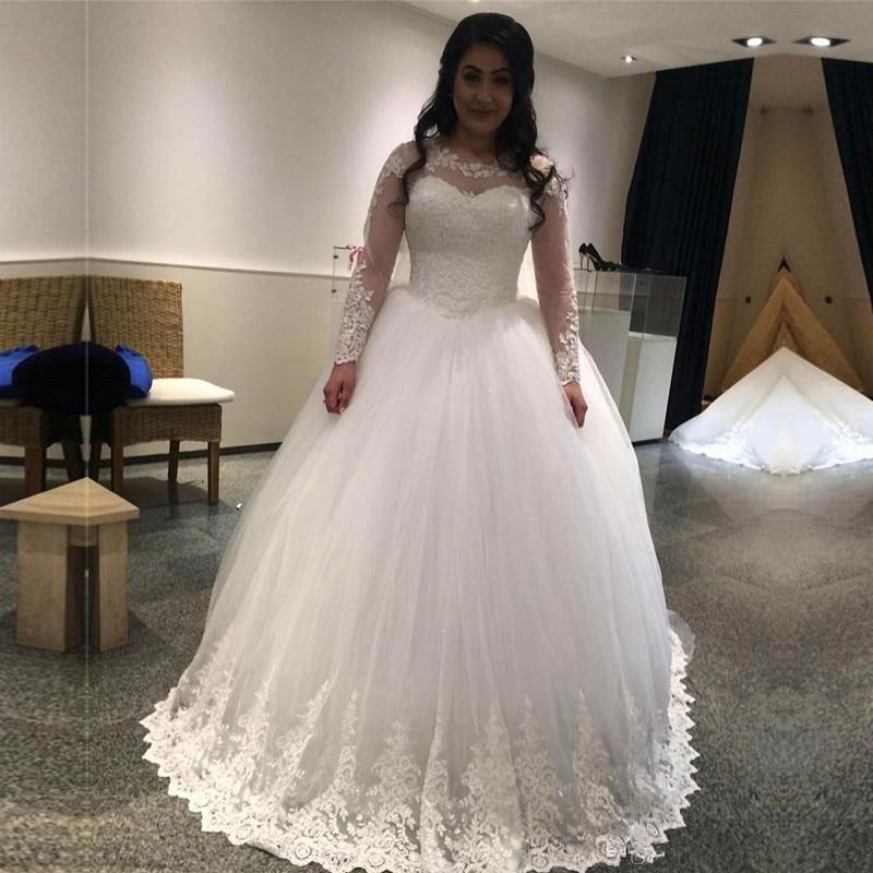Long Sleeve Scoop Neck Lace Applique Wedding Dress 2019 Long Tulle Vestido De Noiva A Line Ball Gown Custom Made