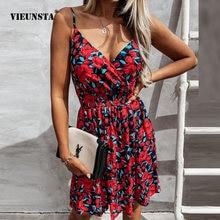 Sexy Summer Sling Deep V Party Dress Vintage Sweet Floral Print Slim Elastic Waist Dress Casual Women Beach Backless Mini Dress