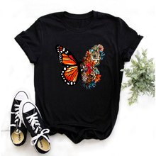 Mayos Butterfly Flower Printed T-shirt Ladies Summer Clothes Top Vogue O Neck Printed T-shirt