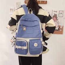 JOYPESSIE Fashion Women Backpack Canvas Multiple Pockets Cute Bookbag for Girls School Bag Kawaii Laptop Rucksack Travel Mochila
