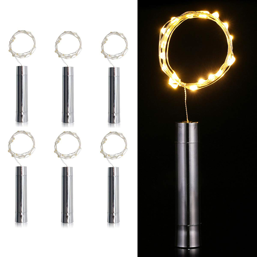 10/15/20LED Wine Bottle Light Cork Shape Copper Wire LED String Lights AA Battery Xmas Wedding Party Holiday Decoration Lighting