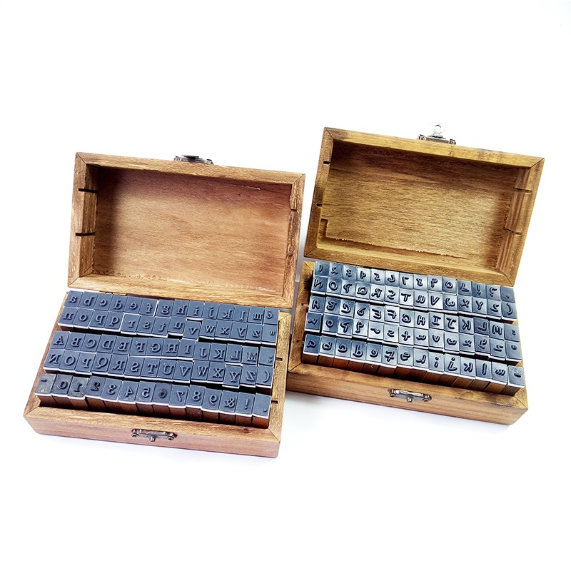 70pcs/set Cute Number&Letter Vintage Wooden Box Case Alphabet Letters Number Craft Rubber Stamps Set