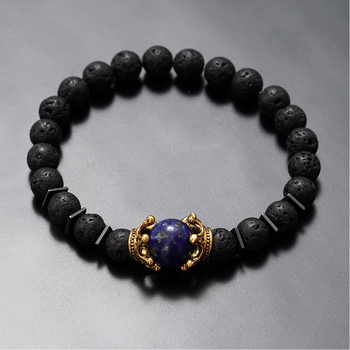 Charm Bracelet for Men Fashion Luxury Antique crown High quality Tiger eye stone bead Bracelets Jewelry Male Pulseira bileklik 3