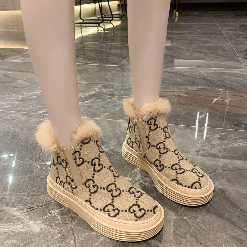 Winter New Women Shoes Fashion Fur Ankle Boots Comfortable Plush Winter Boots Casual Slip on|Ankle Boots| - AliExpress