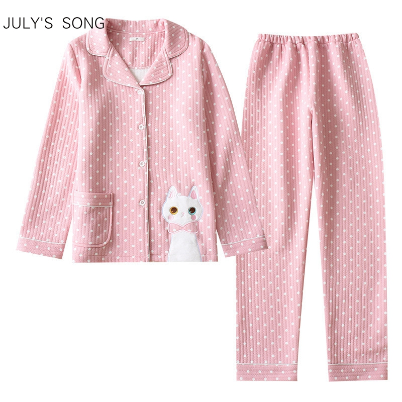 JULY'S SONG Women Cotton Pajamas Set Long Sleeves Cat Printing Cute Wave Point Trousers Casual Large Size Soft Sleepwear Suit