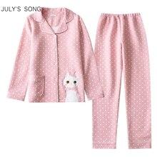 JULYS SONG женский хлопковый пижамный комплект с длинными рукавами и принтом кошки, милые брюки в горошек, Повседневная Мягкая Пижама большого размера