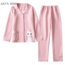 Julysong s canção feminino algodão pijamas conjunto de mangas compridas gato impressão bonito onda ponto calças casuais tamanho grande macio pijamas terno